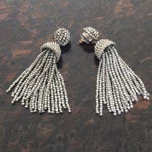 Bauble Bar silver bead tassel earrings